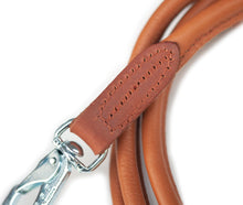 Tan round dog leather lead