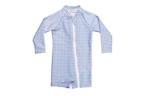 bells blue gingham sun suit