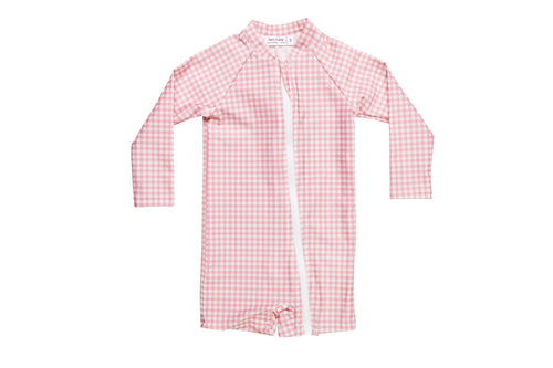 pambula pink gingham sunsuit