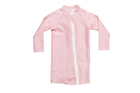 bells blue gingham sun suit (pre-order)