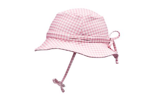 pambula pink gingham swim bucket hat