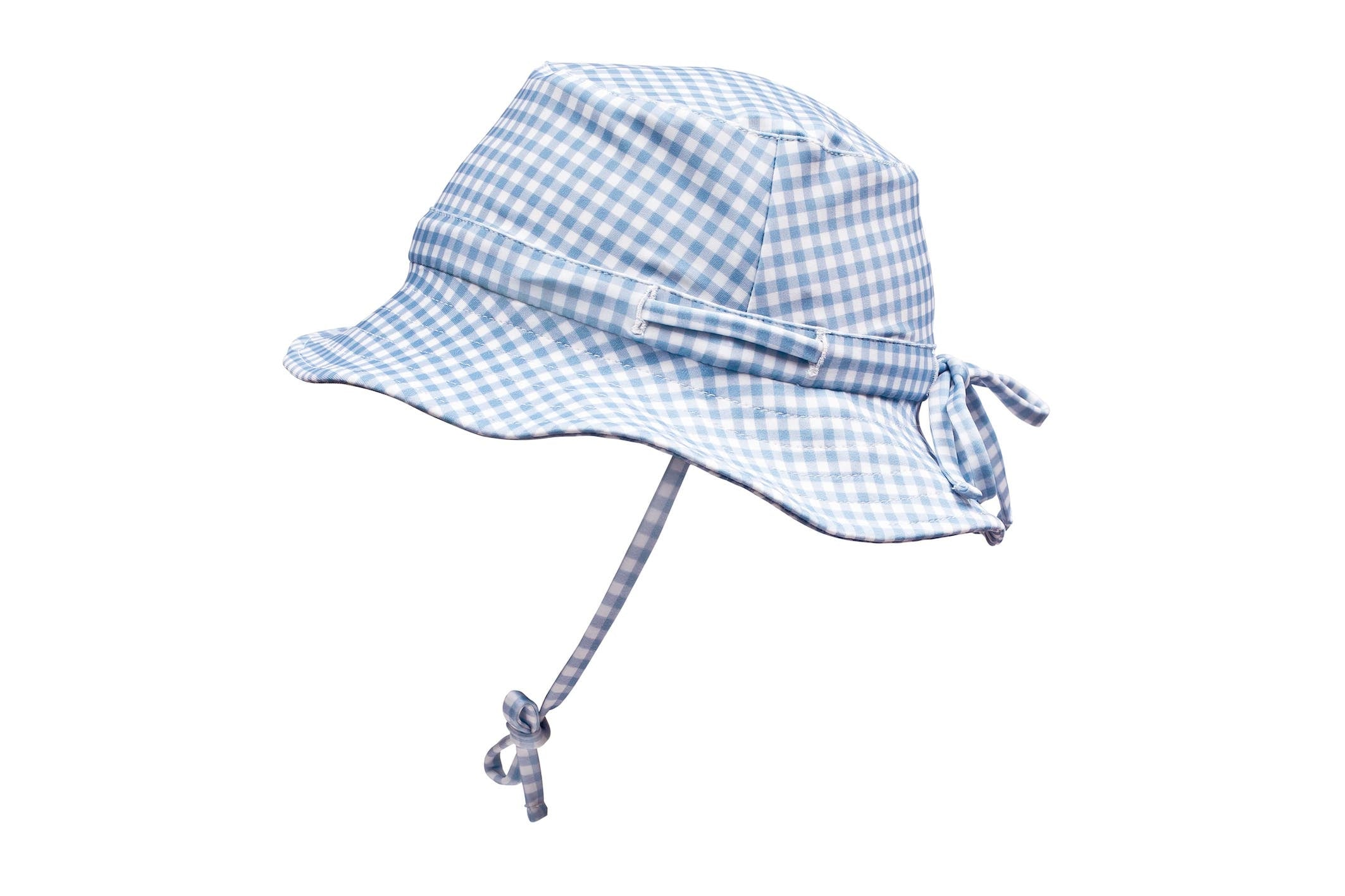 bells blue gingham swim bucket hat (pre-order)