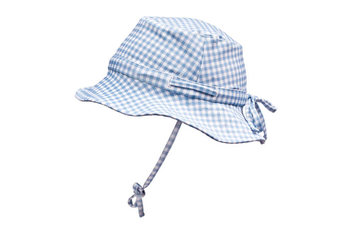 bells blue gingham swim bucket hat