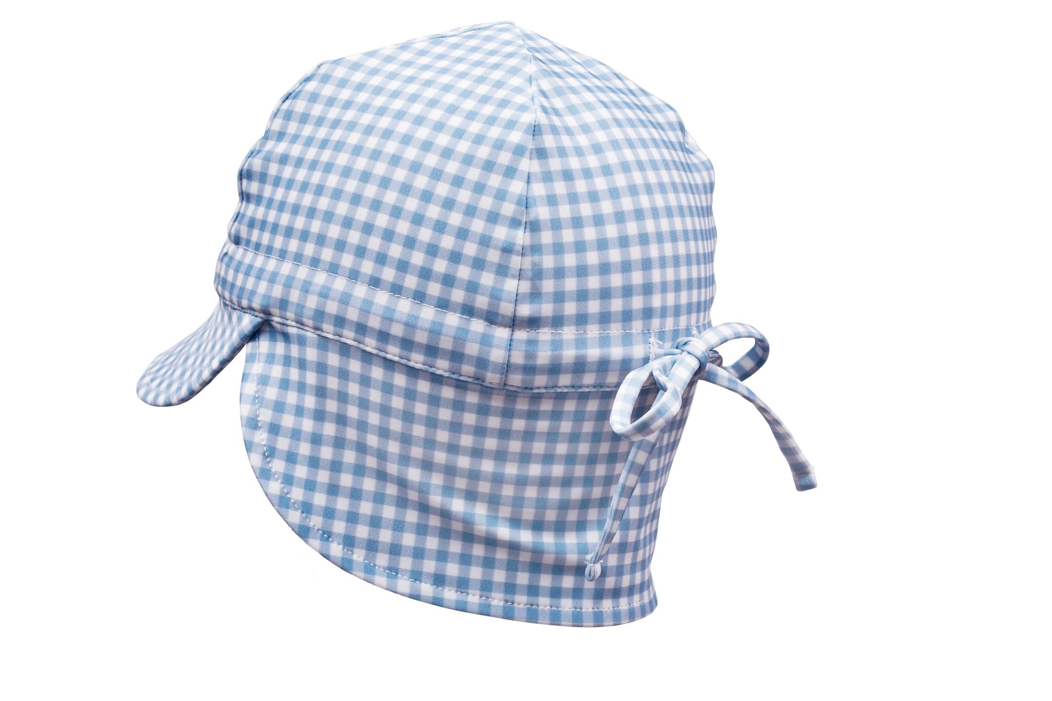 bells blue gingham swim flap hat