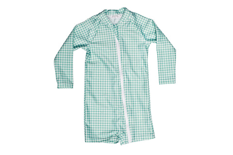 galaru green gingham boardie