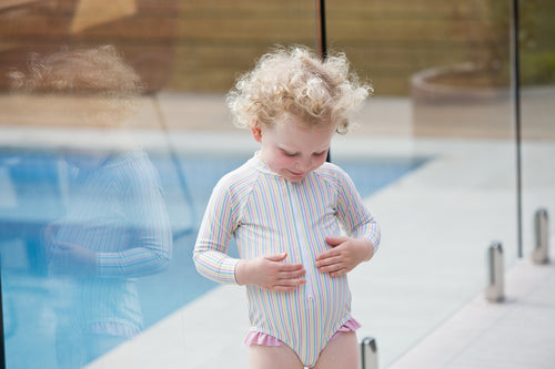 (sample) portsea pink stripe surf suit - only size 6 available