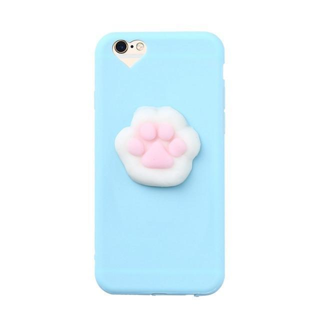 3D Squishy iPhone Case | BLUE CAT PAW Pacific Bling