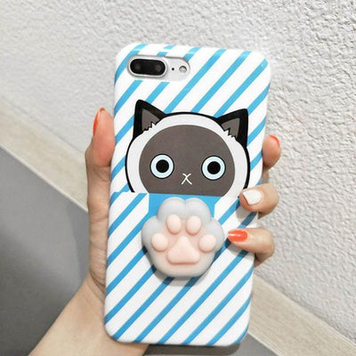 3D Squishy iPhone Case | BLUE CAT PAW STRIPES Pacific Bling