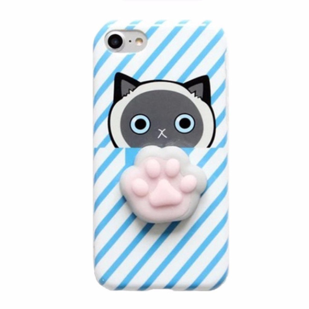 the best attitude 0f2eb bfb9d 3D Squishy iPhone Case | BLUE CAT PAW STRIPES