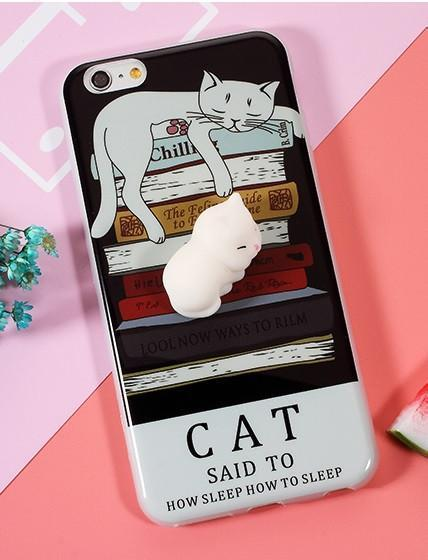 3D Squishy iPhone Case | CAT ON BOOKS Pacific Bling