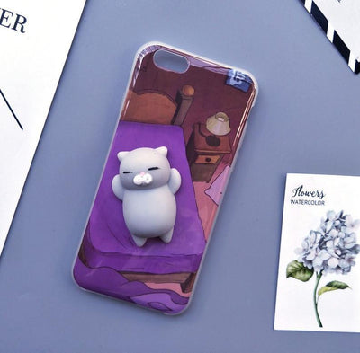 3D Squishy iPhone Case | CAT ON PURPLE BED Pacific Bling