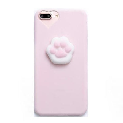 3D Squishy iPhone Case | PINK CAT PAW Pacific Bling