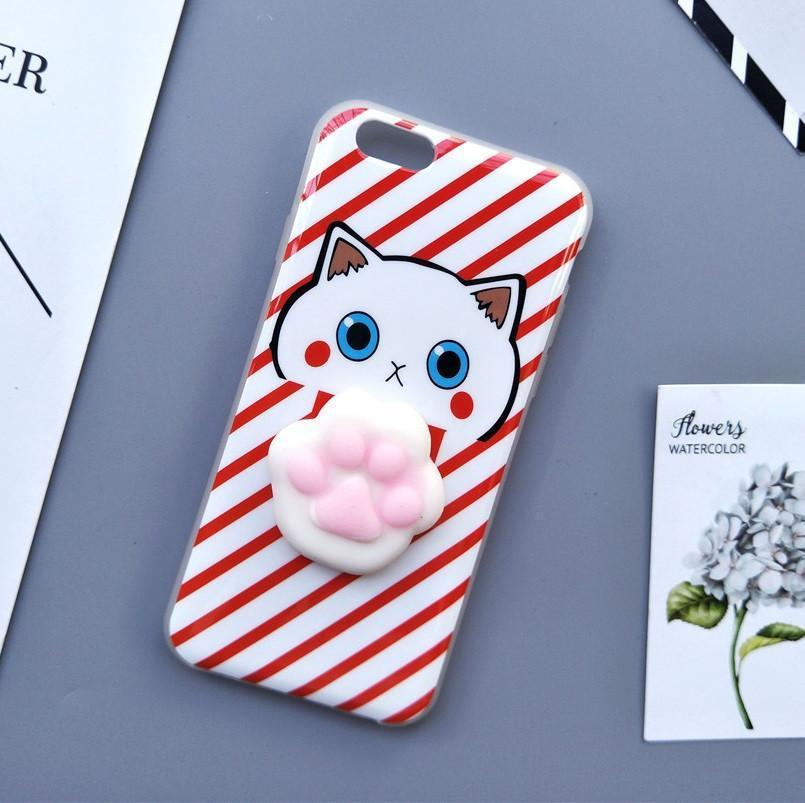 3D Squishy iPhone Case | PINK CAT PAW STRIPES Pacific Bling