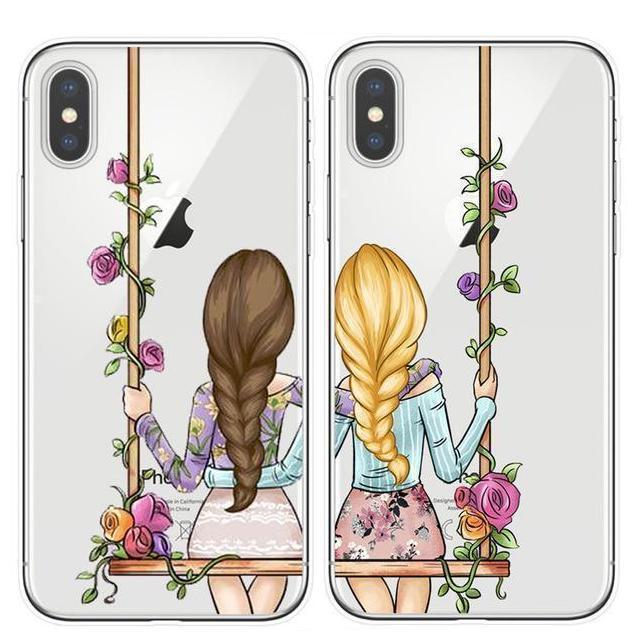 Best Friends BFF Matching Phone Cases | Pretty Florals Pacific Bling