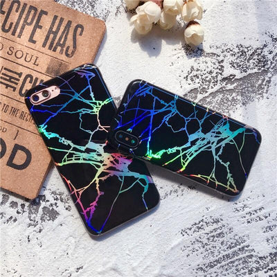 Black Holo Laser Marble iPhone Case Pacific Bling