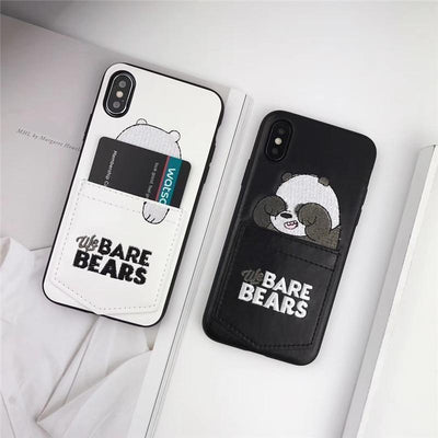 Black We Bare Bears Leather Phone Case Pacific Bling