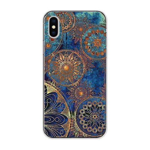 Blue-Gold Floral Wheel Cellphone Case Pacific Bling
