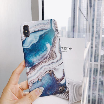 Blue Lava Glitter Marble Phone Case Pacific Bling