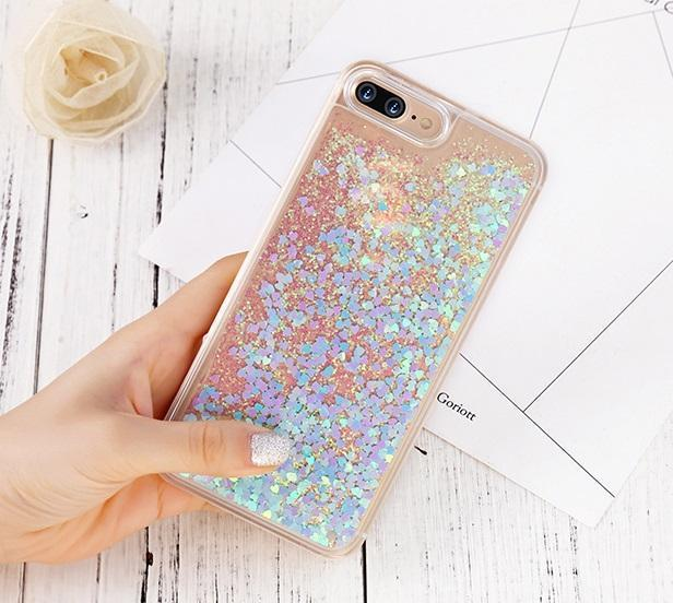 Blue-Pink Stardust Liquid Glitter iPhone Case