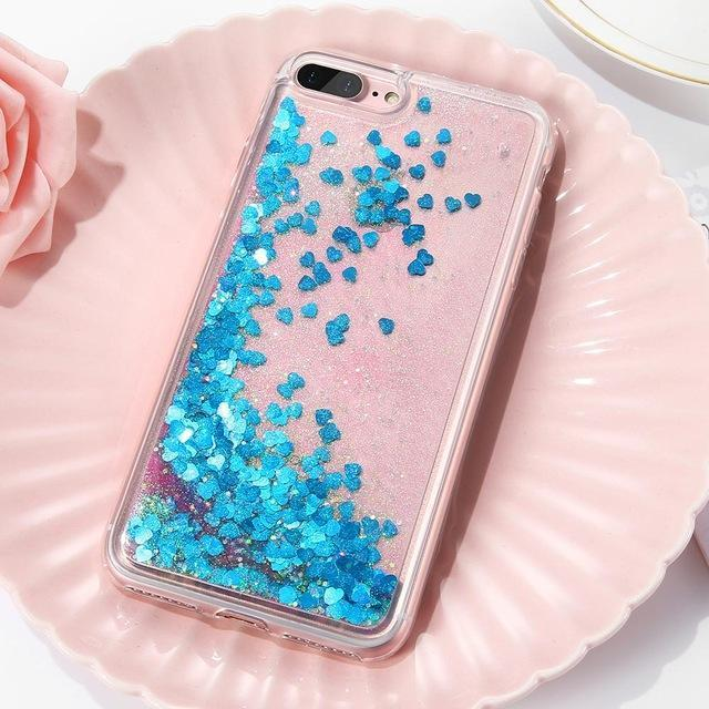 Blue Stardust Liquid Glitter iPhone Case