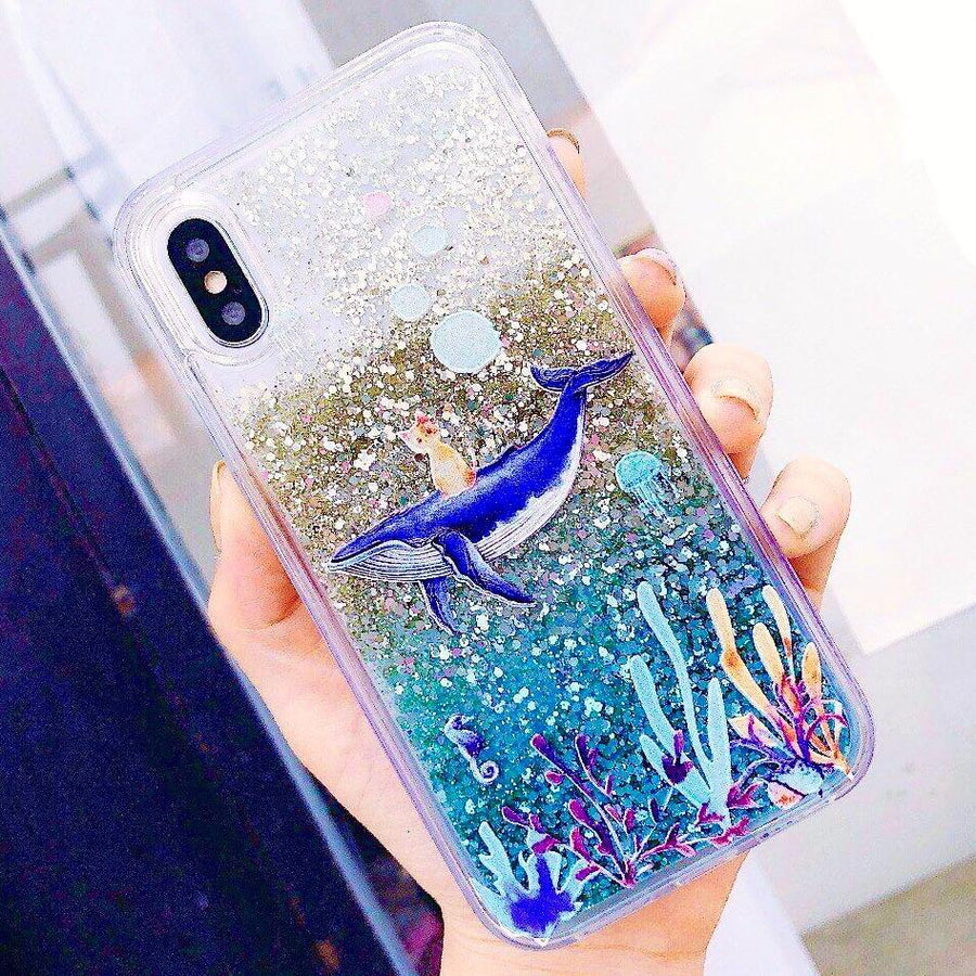 Blue Whale-Riding Cat Glitter Phone Case