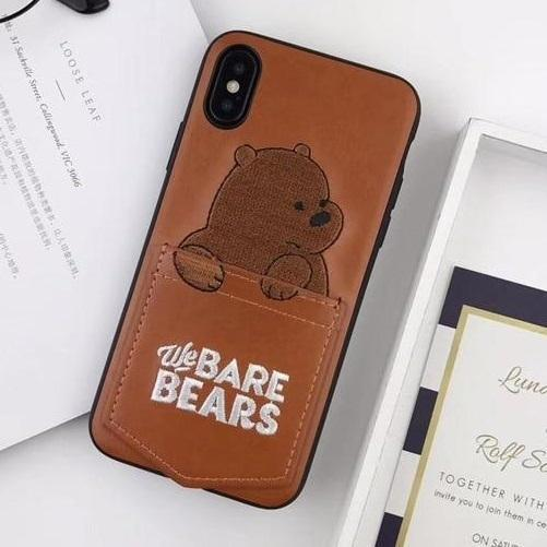 Brown We Bare Bears Leather Phone Case Pacific Bling