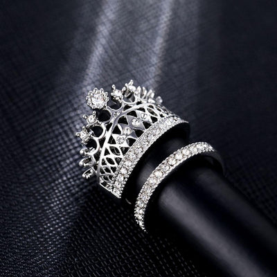 Crystal Crown and Band Dual Rings Set Pacific Bling