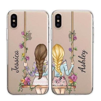 Custom Matching BFF Phone Cases | Pretty Florals Pacific Bling