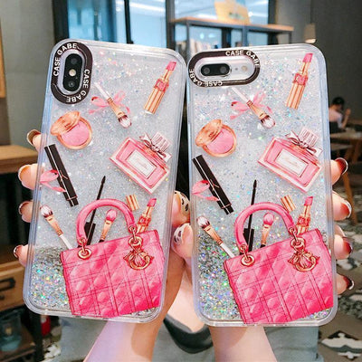 Designer Makeup Glitter Phone Case | Pink Cosmetics Pacific Bling