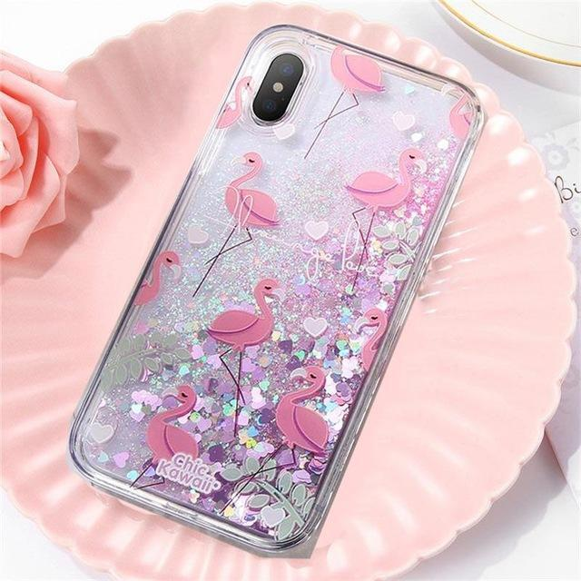Flamingo Love Liquid Glitter iPhone Case Pacific Bling