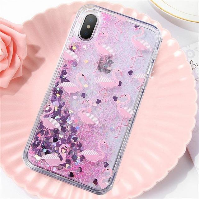 Flamingo Pattern Liquid Glitter iPhone Case