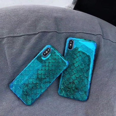 Glossy Blue-Green Mermaid Scales Cellphone Case Pacific Bling