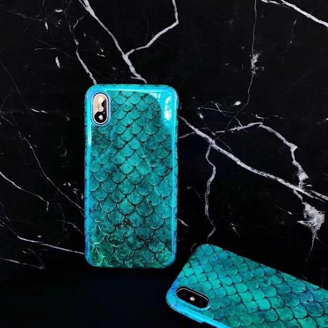 Glossy Blue-Green Mermaid Scales Cellphone Case
