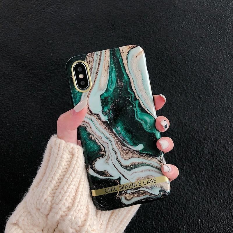 Green Lava Glitter Marble Phone Case