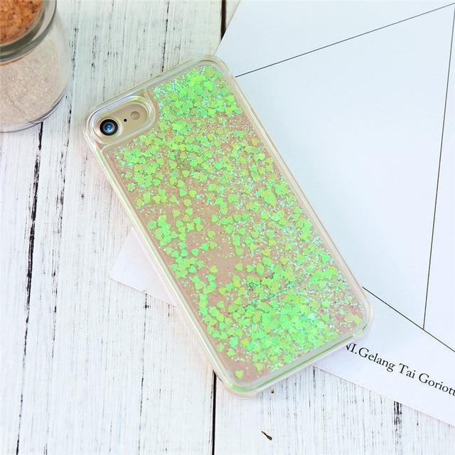 Green Stardust Liquid Glitter iPhone Case