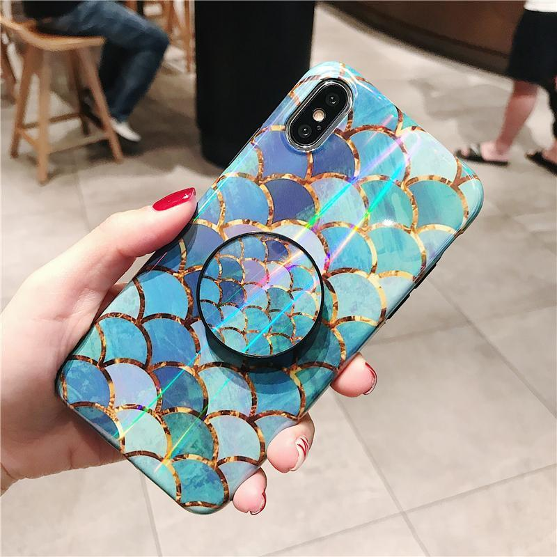 Holo Laser Mermaid Phone Case with Free PopSocket Grip