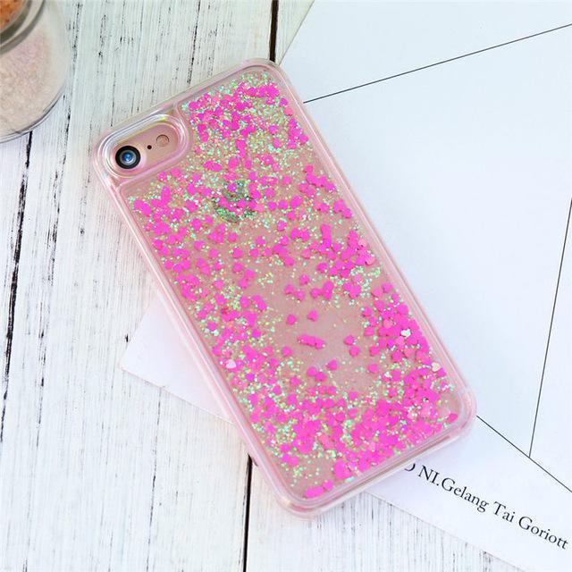 Hot Pink Stardust Liquid Glitter iPhone Case