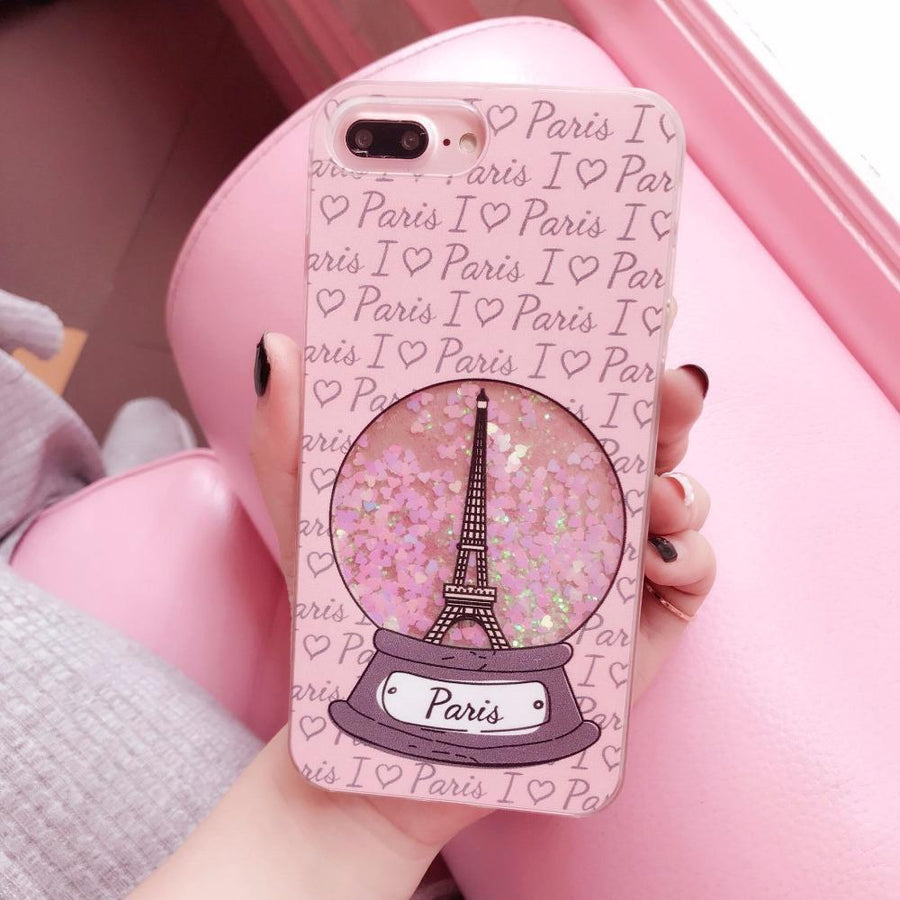 I Love Paris Glitter Snowglobe iPhone Case