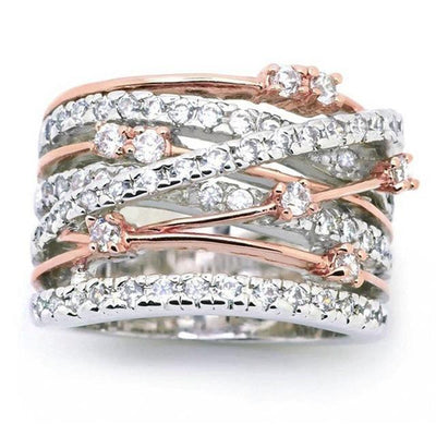 Intricate Criss Cross Crystal Pave Ring | Rose Gold-Tone Pacific Bling