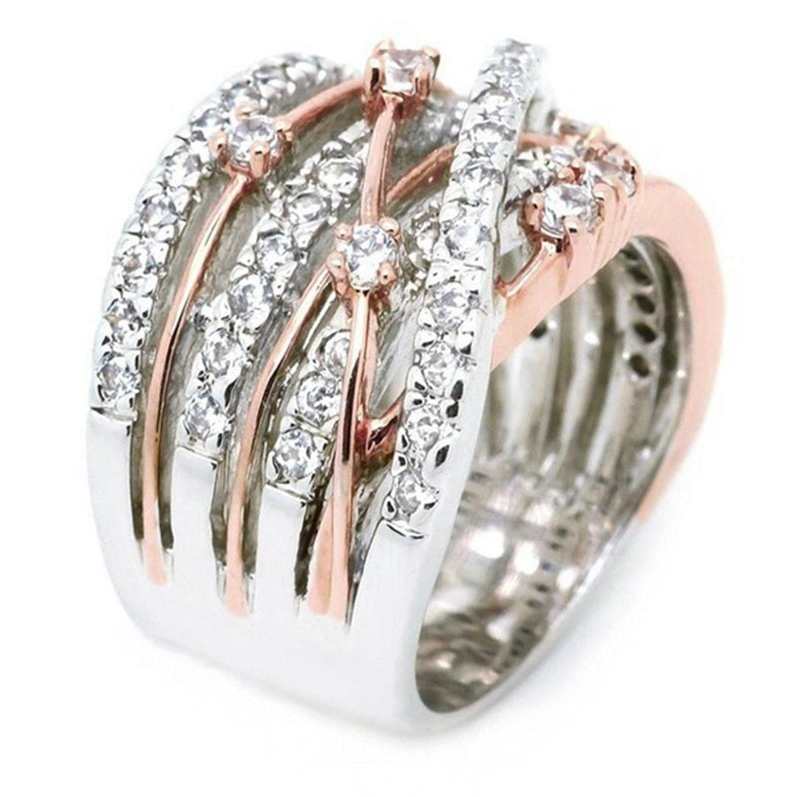 Intricate Criss Cross Crystal Pave Ring | Rose Gold-Tone
