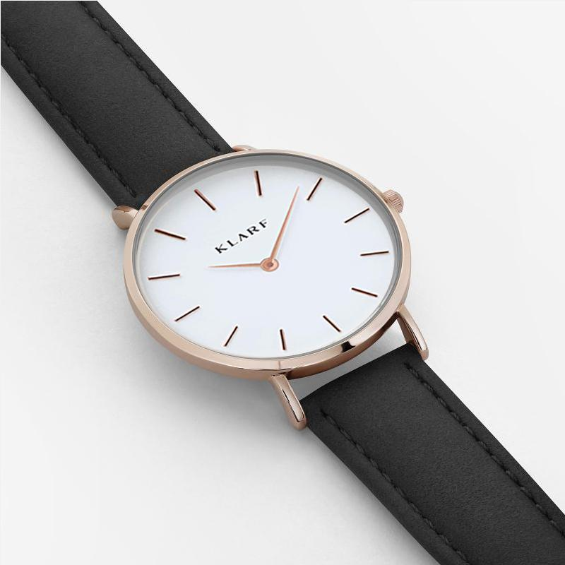 Klarf Minimalist Leather Watch | BLACK + WHITE