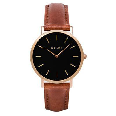 Klarf Minimalist Leather Watch | BROWN + BLACK