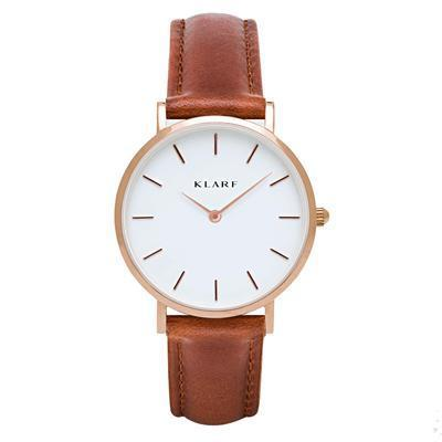 Klarf Minimalist Leather Watch | BROWN + WHITE