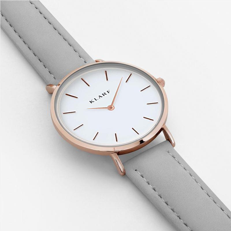 Klarf Minimalist Leather Watch | DOVE GREY