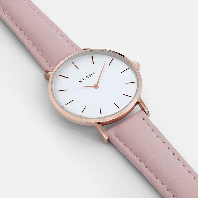 Klarf Minimalist Leather Watch | PETAL PINK