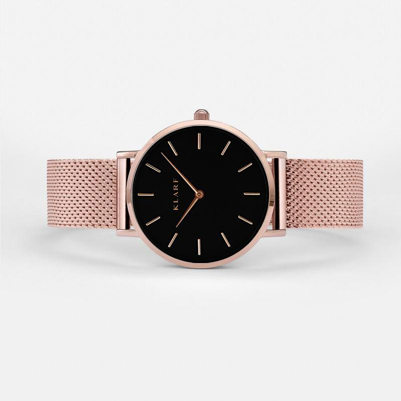 Klarf Minimalist Mesh Watch | ROSE GOLD + BLACK