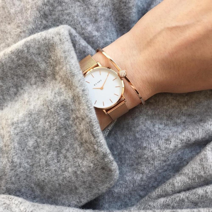 Klarf Minimalist Mesh Watch | ROSE GOLD + WHITE
