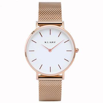 Klarf Minimalist Mesh Watch | ROSE GOLD + WHITE Klarf