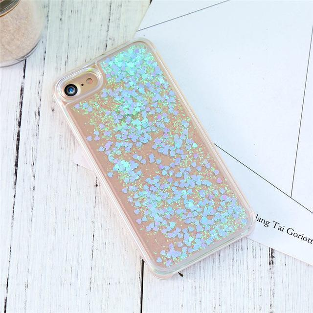 Light Blue Stardust Liquid Glitter iPhone Case