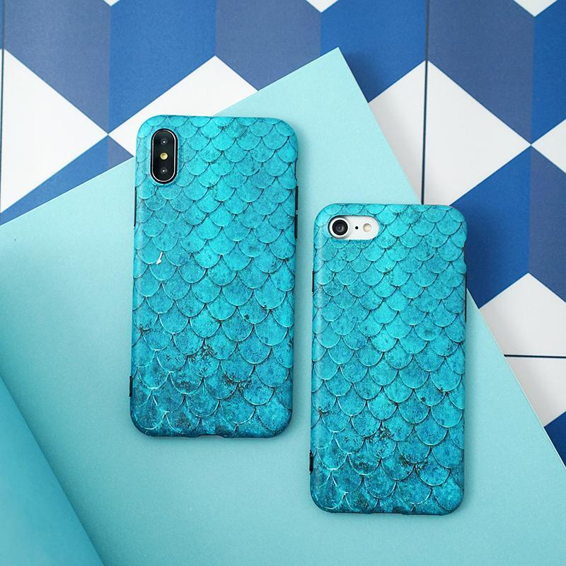 Matte Blue-Green Mermaid Scales Phone Case